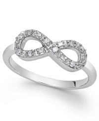 Macy's Diamond Infinity Ring In Sterling Silver 1 10 Ct. T.W.