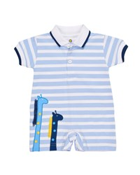 Florence Eiseman Stripe Knit Pique Polo Shortall W Giraffe Embroidery Size 3 18 Months Light Blue