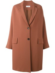 Alberto Biani Single Breasted Coat Brown