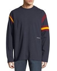 Calvin Klein 205W39nyc Long Sleeve Rugby T Shirt Blue White