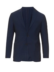 Ac Cantarelli Three Button Wool And Mohair Blend Blazer Blue