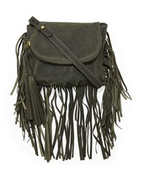 Cynthia Vincent Autumn Leather Fringe Crossbody Bag Green