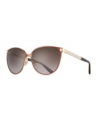 Jimmy Choo Posie Crystal Temple Round Sunglasses Brown