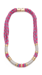 Holst Lee Herringbone Color Block Necklace Hot Pink