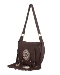 East Fringed Beaded Leather Brown