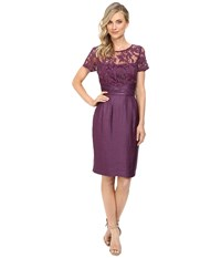 Adrianna Papell Pleated Origami Bow Waist Sheath Dress Ice Plum Women's Dress Purple