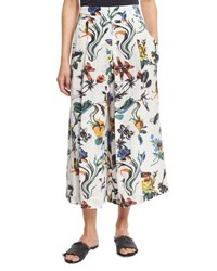 Tibi Gothic Floral Linen Pleated Culottes White Multicolor White Pattern