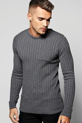 Boohoo Crew Neck Jumper With Patch Pocket Charcoal