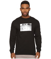 Huf X Emb Color Block Long Sleeve T Shirt Black Men's T Shirt