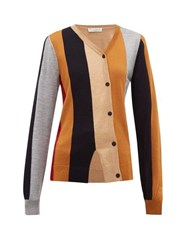 J.W.Anderson Jw Anderson Asymmetric Striped Wool Cardigan Brown Multi