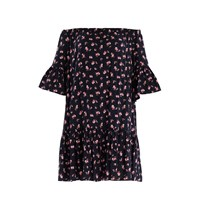 Paisie Floral Print Bardot Dress With Gathered Hem And Flared Cuffs