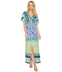 Hale Bob Meeting Of The Minds Stretch Satin Woven Maxi Dress Blue