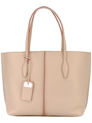 Tod's Shopper Tote Women Leather One Size Nude Neutrals