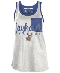 Royce Apparel Inc Women's Kansas Jayhawks Campbell Pocket Slub Tank White Royalblue