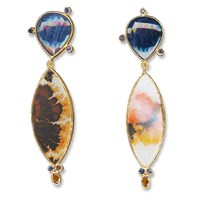 Janis Provisor Jewelry Agate And Sapphire Earring Gold