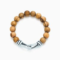 Tiffany And Co. Paloma Picasso Knot Bead Bracelet Of Wood Sterling Silver Extra Large. No Gemstone
