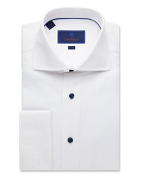 David Donahue Trim Fit Mini Diamond Dress Shirt With French Cuffs White