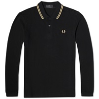 Fred Perry Long Sleeve Original Twin Tipped Polo Black And Champagne