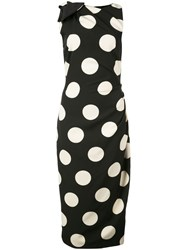 Christian Siriano Polka Dot Print Dress Black