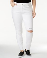 Rachel Roy Trendy Plus Size Live To Love Ripped Skinny Jeans White