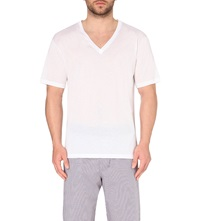 Hanro V Neck Cotton T Shirt White