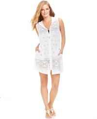 Dotti Hooded Lasercut Zip Front Cover Up Women's Swimsuit White