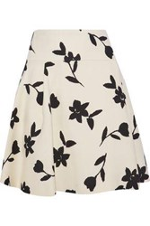 Carolina Herrera Pleated Intarsia Wool Twill Mini Skirt Cream