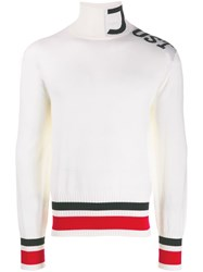 Just Cavalli Logo Roll Neck Jumper White