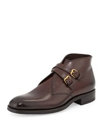 Tom Ford Edward Double Buckle Boot Burgundy