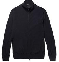 Ermenegildo Zegna Merino Wool Zip Up Sweater Navy