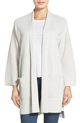 Women's Eileen Fisher Silk And Organic Cotton Knit Long Sleeve Kimono Coat
