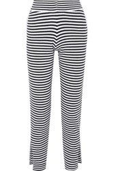 Allude Striped Wool And Cashmere Blend Pants Black
