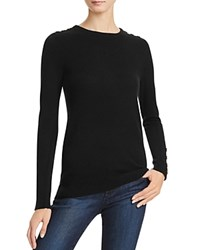 Bloomingdale's C By Button Crewneck Cashmere Sweater Black