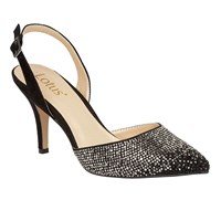Lotus Spinley Diamante Sling Back Heels Black