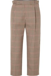 Monse Cropped Pleated Checked Wool Blend Tapered Pants Tan