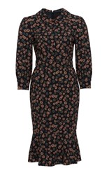 Ulyana Sergeenko Demi Couture Long Sleeve Midi Dress Black