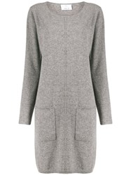 Allude Front Pocket Knitted Dress Grey