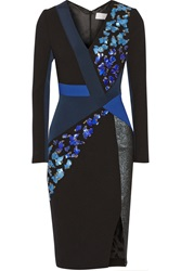 Peter Pilotto Aro Embellished Wool And Crepe Dress Black