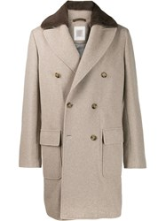 Eleventy Double Breasted Fitted Coat Neutrals