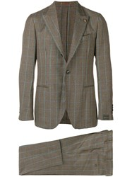 Gabriele Pasini Checked Suit Brown