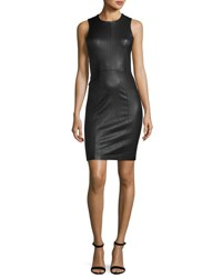 Alexander Wang Sleeveless Leather Sheath Dress Black