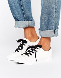 New Look Leather Contrast Lace Trainer White