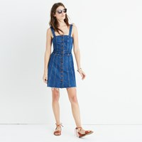 Madewell Raw Edge Denim Button Front Dress Tilney Wash