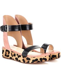 Francesco Russo Leather Suede And Calf Hair Sandals Black