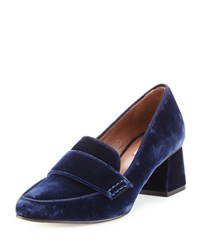 Tabitha Simmons Margot Velvet Loafer Pump Navy