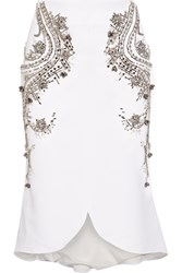 Antonio Berardi Embellished Stretch Crepe Skirt White