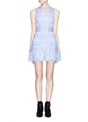 Self Portrait Floral Lace Peplum Hem Mini Dress Blue