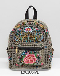 Reclaimed Vintage Ornate Embroidered Backpack Black