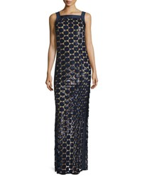 Michael Kors Circle Paillette Embellished Column Gown Navy