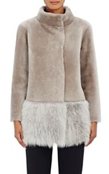 Barneys New York Women's Lamb Shearling Coat Nude